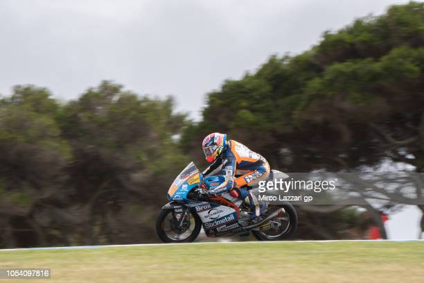 Philipp Oettl of Germany and Sudmetall Schedl GP Racing heads down a straight during the Moto3 qualifying during qualifying for the 2018 MotoGP of...