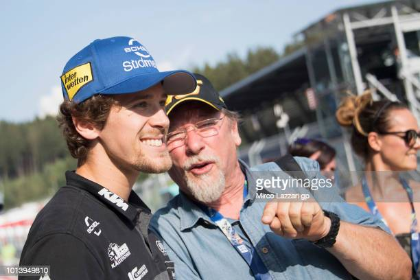 Philipp Oettl of Germany and Sudmetall Schedl GP Racing poses with fans in pit during the MotoGp of Austria Previews at Red Bull Ring on August 9...