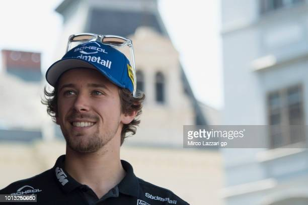 Philipp Oettl of Germany and Sudmetall Schedl GP Racing smiles for fans during the preevent in Herrengasse in Graz during the MotoGp of Austria...