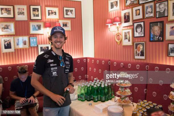 Philipp Oettl of Germany and Sudmetall Schedl GP Racing smiles for journalists during the preevent in Herrengasse in Graz during the MotoGp of...