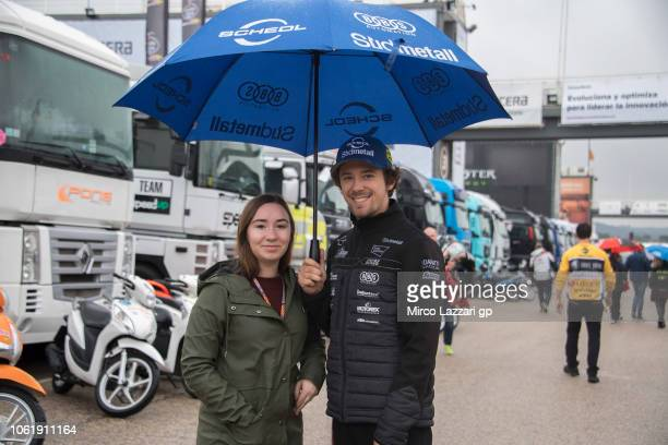 Philipp Oettl of Germany and Sudmetall Schedl GP Racing smiles in paddock under the rain during the MotoGP Of Valencia Previews at Ricardo Tormo...