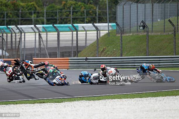 Philipp Oettl of Schedl GP Racing Jorge Martin of Aspar Team Mahindra Moto3 Nicolo Bulega of Sky Racing Team VR46 and Aron Canet Estrella Galicia 00...