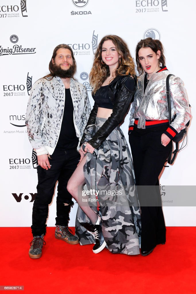Philipp Palm (partner of Nena), Larissa Freitag (daughter of Nena) and Marie Suberg (Adameva) during the Echo award red carpet on April 6, 2017 in Berlin, Germany.