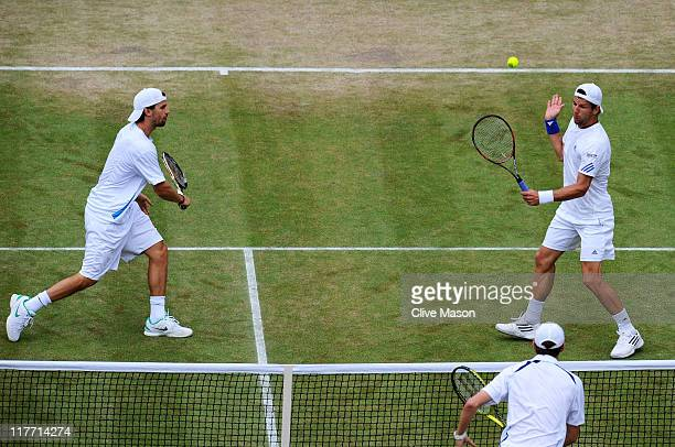 Philipp Petzschner of Germany and Jurgen Melzer of Austria in action during their quaterfinal round double's match against Mike Bryan and Bob Bryan...