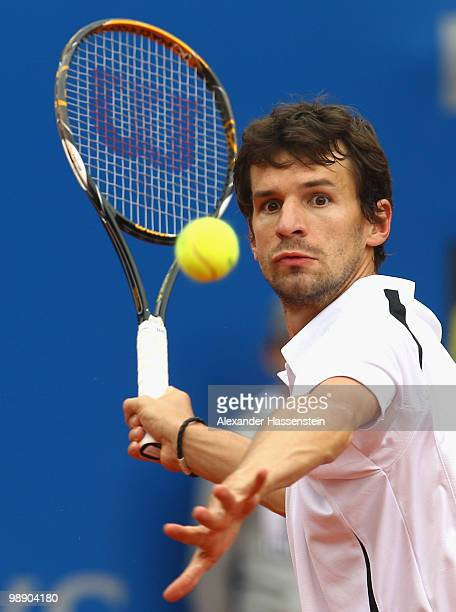 Philipp Petzschner of Germany plays a fore hand during his match against Tomas Berdych of Czech Republic on day 6 of the BMW Open at the Iphitos...
