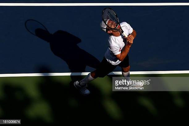 Philipp Petzschner of Germany reacts during his men's singles second round match against Nicolas Almagro of Spain on during Day Four of the 2012 US...