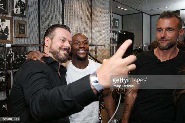 Philipp Plein and Floyd Mayweather together for The Mayweather vs McGregor historic boxing superfight fitting at Philipp Plein store at The Shops at...