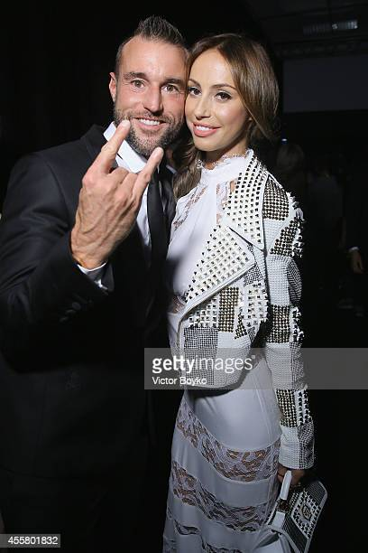Philipp Plein and guest attend the amfAR Milano 2014 Cocktail as part of Milan Fashion Week Womenswear Spring/Summer 2015 on September 20 2014 in...