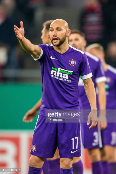 Philipp Riese of Erzgebirge Aue gestures during the DFB Cup second round match between Fortuna Duesseldorf and Erzgebirge Aue at Merkur SpielArena on...
