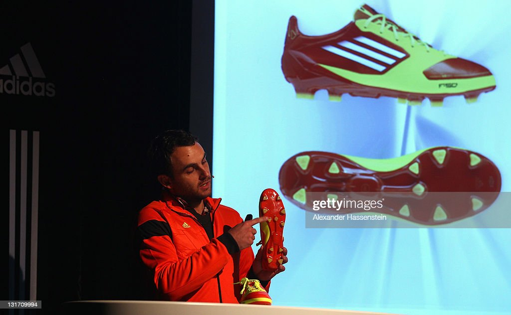 Philipp Schapitz, GTM Manager & BU Interactive, Sports Performance Divison of adidas AG explains the boot functions during the adidas adizero F50 miCoach launch event at Miller studio on November 7, 2011 in Zurich, Switzerland.