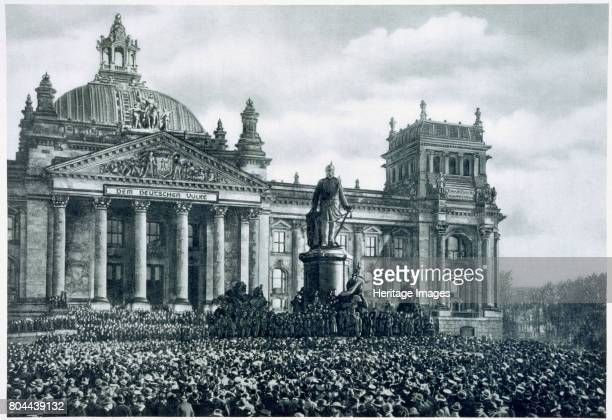 Philipp Scheidemann announcing the creation of a new German republic 9th November 1918 Scheidemann speaking from the Reichstag at the end of the...