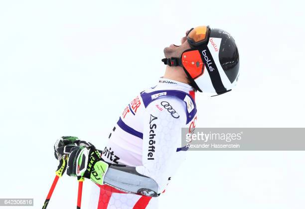 Philipp Schoerghofer of Austria reacts at the finish in the Men's Giant Slalom during the FIS Alpine World Ski Championships on February 17 2017 in...