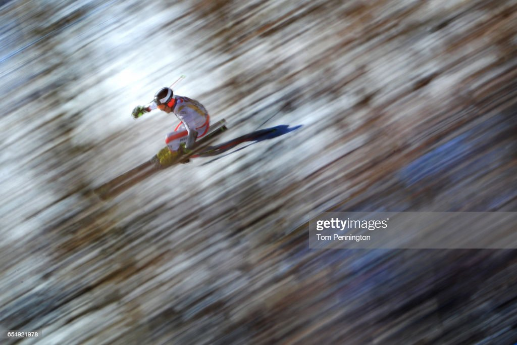 Philipp Schoerghofer of Austria skis his first run of the Men's Giant Slalom at Aspen Mountain on March 18, 2017 in Aspen, Colorado.
