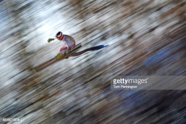 Philipp Schoerghofer of Austria skis his first run of the Men's Giant Slalom at Aspen Mountain on March 18 2017 in Aspen Colorado