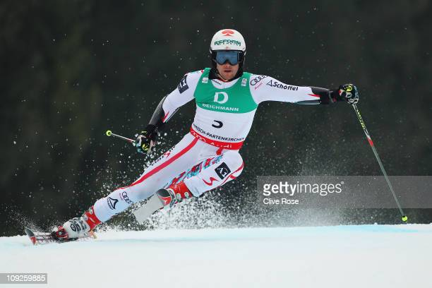 Philipp Schoerghofer of Austria skis on his way to finishing third in the Men's Giant Slalom during the Alpine FIS Ski World Championships on the...