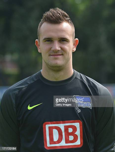 Philipp Sprint of Berlin pose during the official Hertha BSC Berlin team presentation at the training ground of the team on June 28 2013 in Berlin...