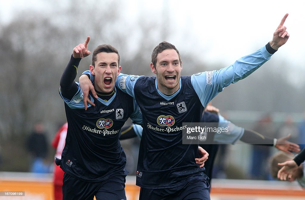 Philipp Steinhart of Muenchen (L) and Markus Ziereis of Muenchen (R) celebrate the first goal of the match (0:1) during the Regionalliga Bayern match between FV Illertissen and 1860 Muenchen II at Voehlinstadion on April 20, 2013 in Illertissen, Germany.