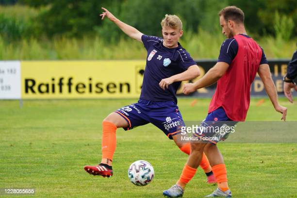 Philipp Sturm of Hartberg and Tobias Kainz of Hartberg during the Friendly match between TSV prolactal Hartberg and FC Banik Ostrava at RM-Stadion on...