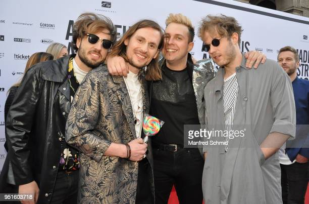 Philipp Szalay Alexander Hackl Philipp Prueckl and Andreas Foedinger of Farewell Dear Ghost pose at the red carpet during the Amadeus Award 2018 on...