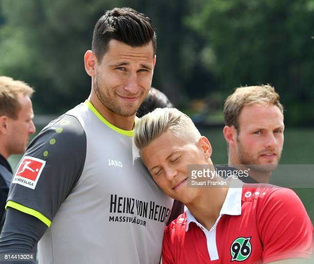 Philipp Tschauner and Matthias Ostrzolek of Hannover 96 clown around during the team presentation at on July 14 2017 in Hanover Germany