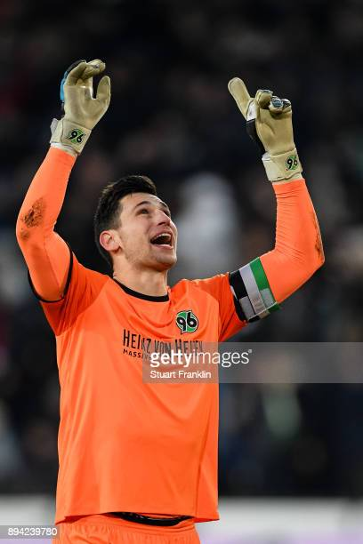 Philipp Tschauner of Hannover 96 celebrates his team's third goal to make it 32 during the Bundesliga match between Hannover 96 and Bayer 04...