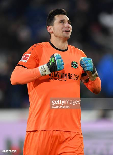 Philipp Tschauner of Hannover celebrates during the Bundesliga match between Hannover 96 and Bayer 04 Leverkusen at HDIArena on December 17 2017 in...