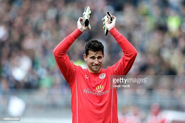 Philipp Tschauner of Pauli after the Second Bundesliga match between FC Sankt Pauli and Eintracht Braunschweig at Millerntor Stadium on May 12 2013...