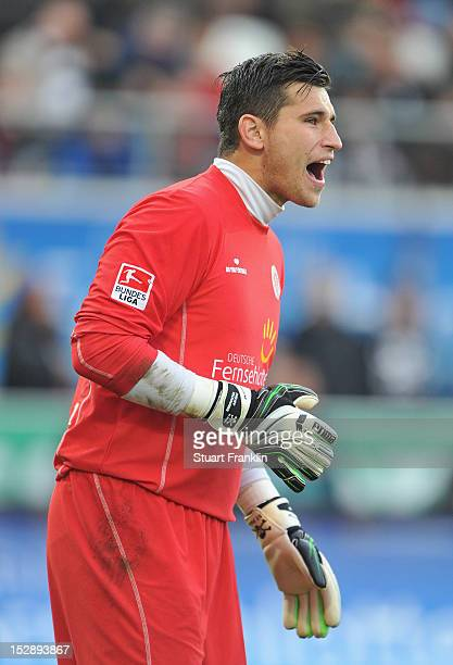 Philipp Tschauner of St Pauli shouts during the Second Bundesliga match between FC St Pauli and VfR Aalen at Millerntor Stadium on September 25 2012...
