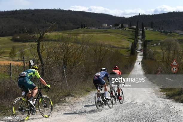 Philipp Walsleben of Germany and Team Alpecin-Fenix, Simone Bevilacqua of Italy and Team Vini Zabu' Brado KTM & Kevin Ledanois of France and Team...