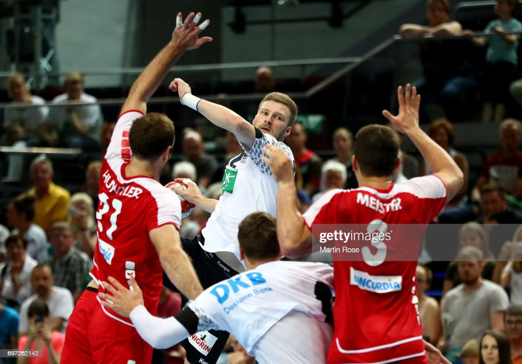 Philipp Weber (C) of Germany in action against Switzerland during the 2018 EHF European Championship Qualifier between Germany and Switzerland at OVB-Arena on June 18, 2017 in Bremen, Germany.