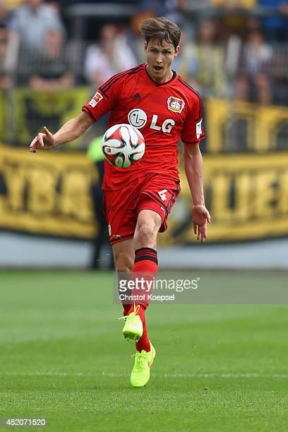 Philipp Wollscheid of Leverkusen runs with the ball during the friendly match between Bayer Leverkusen and Lierse SK at Ulrich Haberland Stadion on...