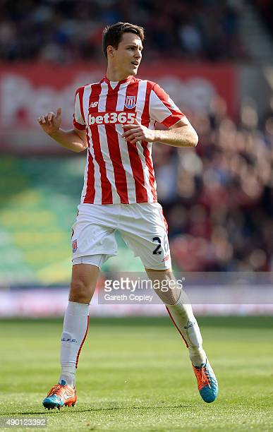 Philipp Wollscheid of Stoke City during the Barclays Premier League match between Stoke City and Bournemouth on September 26 2015 in Stoke on Trent...