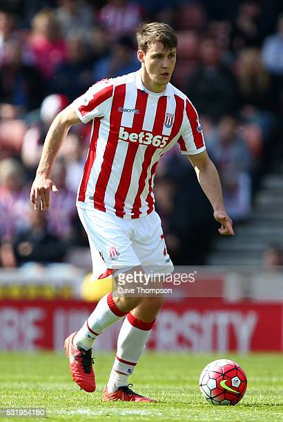 Philipp Wollscheid of Stoke City during the Barclays Premier League match between Stoke City and West Ham United at the Britannia Stadium on May 15...