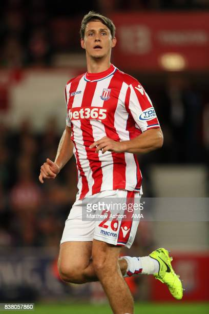 Philipp Wollscheid of Stoke City during the Carabao Cup Second Round match between Stoke City and Rochdale at Bet365 Stadium on August 23 2017 in...