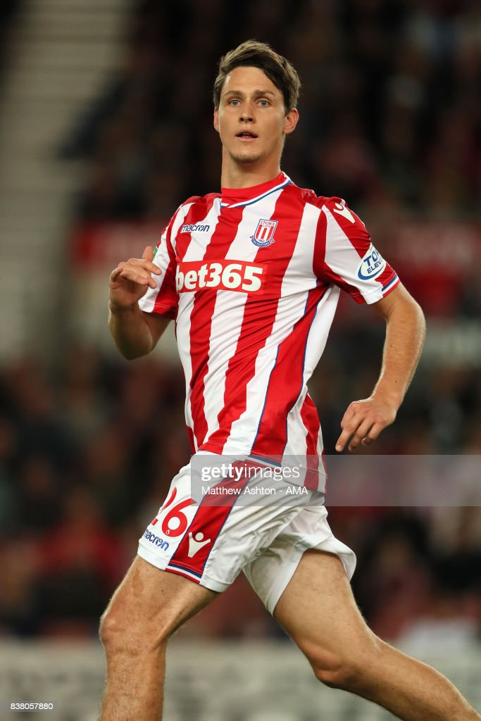 Philipp Wollscheid of Stoke City during the Carabao Cup Second Round match between Stoke City and Rochdale at Bet365 Stadium on August 23, 2017 in Stoke on Trent, England.