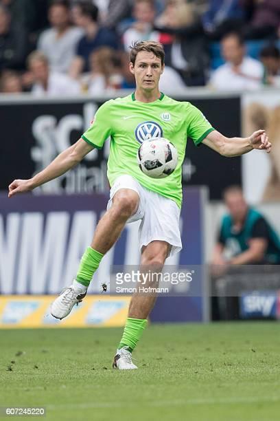 Philipp Wollscheid of Wolfsburg controls the ball during the Bundesliga match between TSG 1899 Hoffenheim and VfL Wolfsburg at Wirsol...