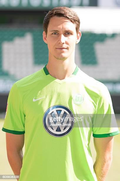 Philipp Wollscheid poses during the official team presentation of VfL Wolfsburg at Volkswagen Arena on September 14 2016 in Wolfsburg Germany