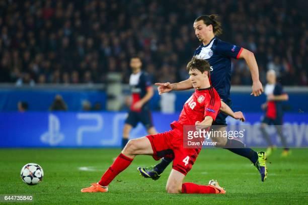 Philipp WOLLSCHEID / Zlatan IBRAHIMOVIC Paris Saint Germain / Bayer Leverkusen 1/8Finale Champions League Photo Dave Winter / Icon Sport