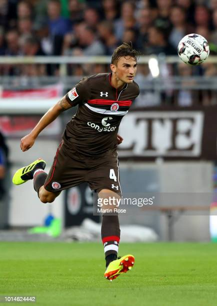Philipp Ziereis of St Pauli runs with the ball during the Second Bundesliga match between FC St Pauli and SV Darmstadt 98 at Millerntor Stadium on...