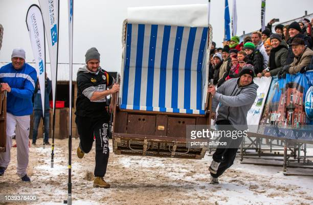 Philipp Zillmann and Kai Franke, winners of last year's race, in action at the Beach-Chair-Sprint World Cup in Zinnowitz, Germany, 23 January 2016....