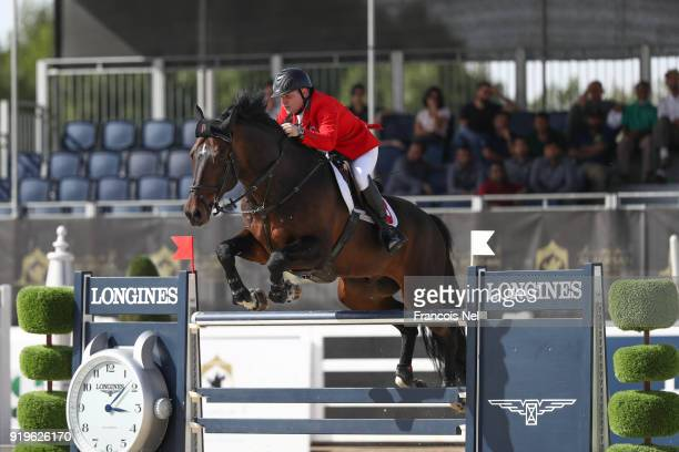 Philipp Zuger of Switzerland rides Casanova F Z during The President of the UAE Show Jumping Cup at Al Forsan on February 17 2018 in Abu Dhabi United...