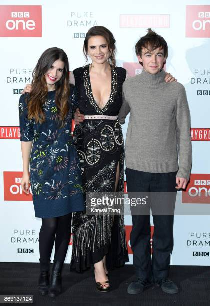 Philippa Coulthard Hayley Atwell and Alex Lawther attend the 'Howards End' photocall at BFI Southbank on November 1 2017 in London England