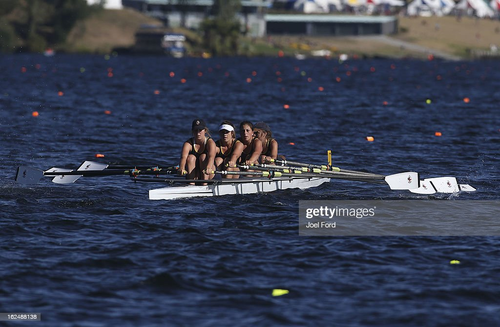 Philippa Dalgety, Mikayla Hill, Georgia Kendall, Kate Dawson and cox Jacquelin Ellis of Nga Tawa Diocesan School compete in the final of the coxed quadruple sculls during the New Zealand Junior Rowing Regatta on February 24, 2013 in Auckland, New Zealand.