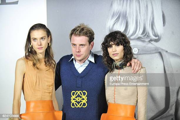 Philippa Hemprey Jonathan Anderson and Mica Arganaz attend the opening of the exhibition 'LOEWE Past Present Future' at Botanic Garden on November 17...