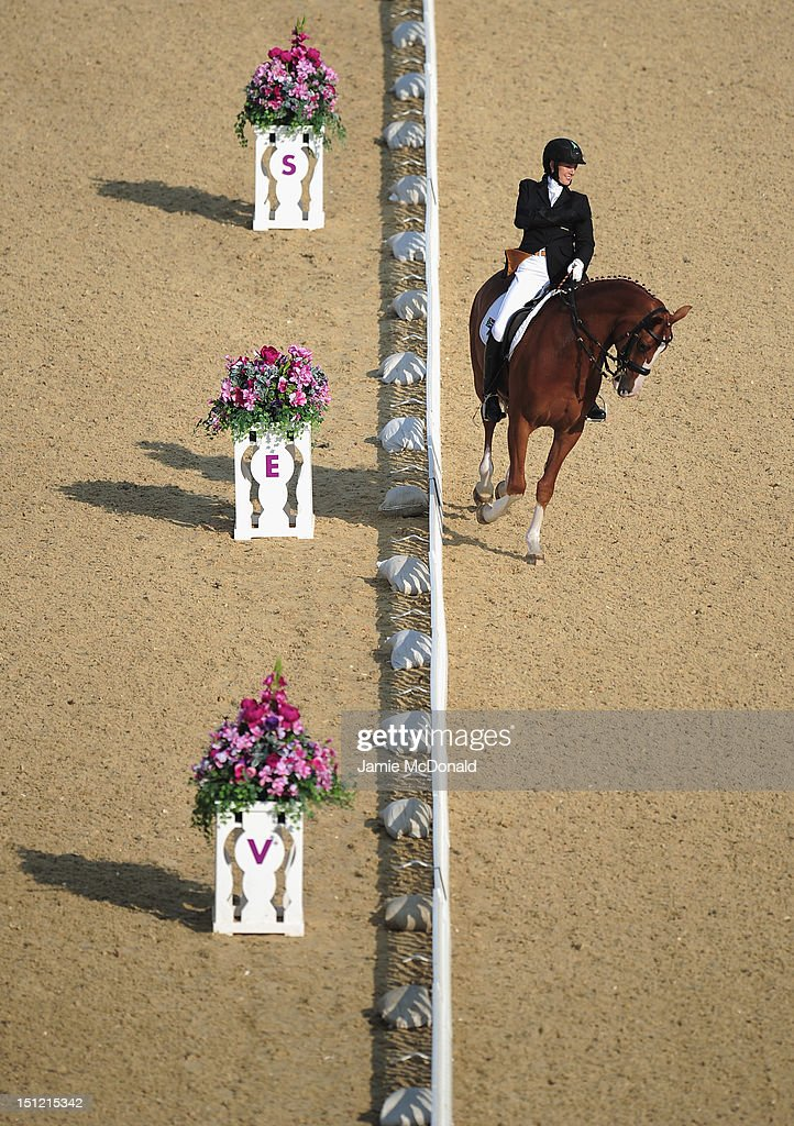 Philippa Johnson of South Africa rides Lord Louis during the Equestrian Dressage Individual Freestyle Test - Grade IV on day 6 of the London 2012 Paralympic Games at Greenwich Park on September 4, 2012 in London, England.