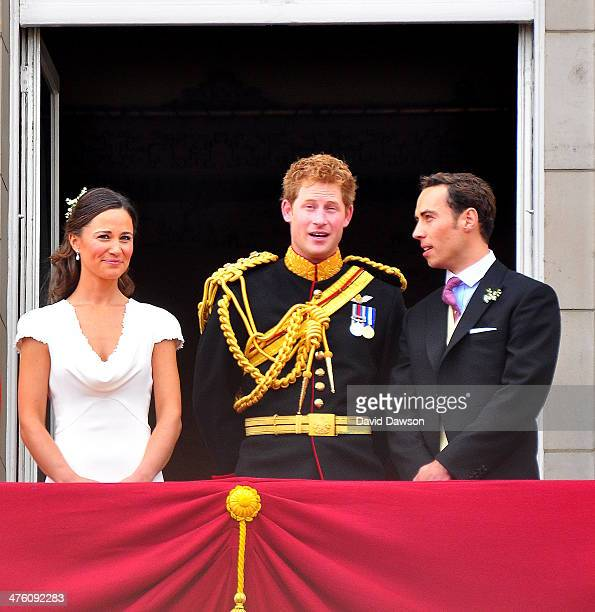 Philippa Middleton, Prince Harry and James Middleton on the balcony of Buckingham Palace after the Royal wedding in London, England, at Westminster...