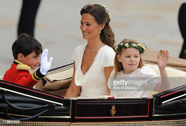 Philippa Middleton sister of Kate Duchess of Cambridge and Maid of Honour travels with a bridesmaid and a page boy in an Ascot Landau carriage along...