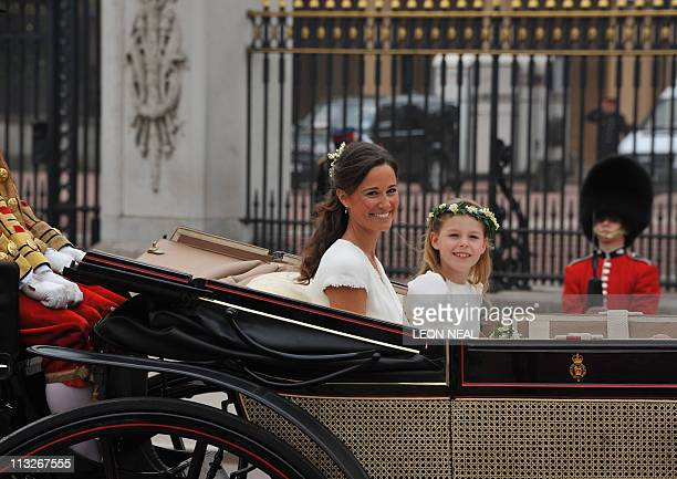 Philippa Middleton sister of Kate Duchess of Cambridge and the Maid of Honour travels with a bridesmaid in an Ascot Landau carriage along the...