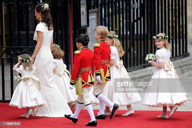 Philippa Middleton, sister of Kate Middleton and Maid of Honour arrives with the bridemaids and page boys at the West Door of Westminster Abbey in...