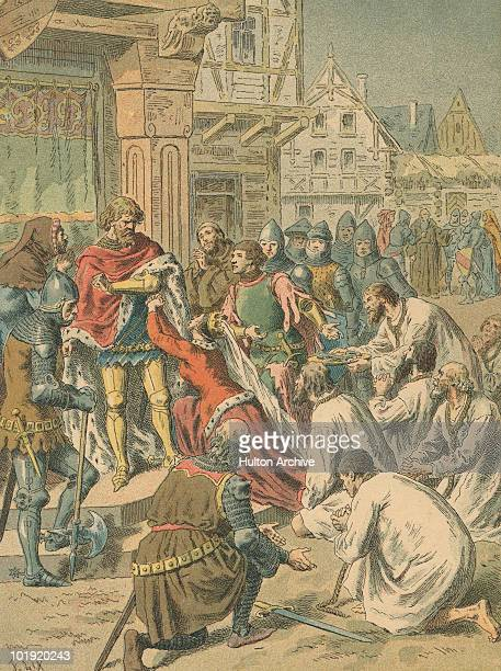 Philippa of Hainault Queen of England begs her husband King Edward III to spare the lives of the Burghers of Calais during the Hundred Years' War...